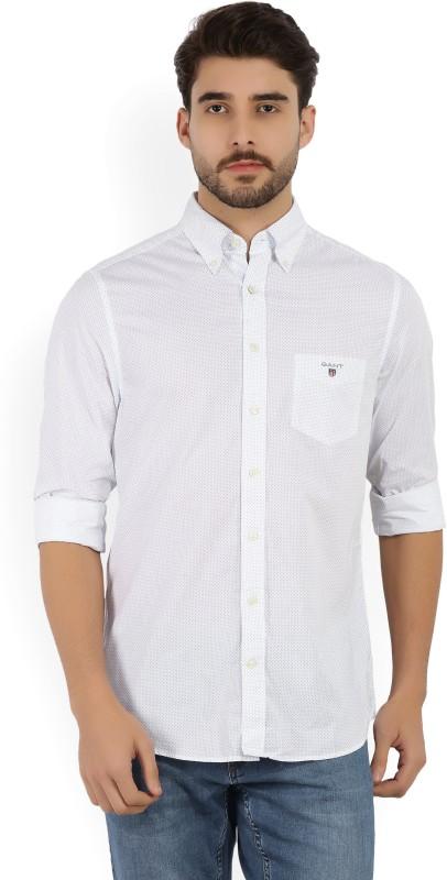Gant Mens Printed Casual White, Blue Shirt