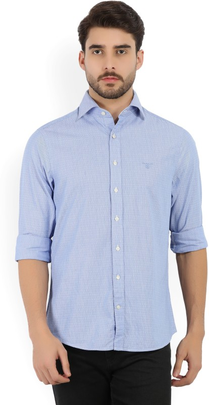 Gant Men Self Design Casual Blue, White Shirt
