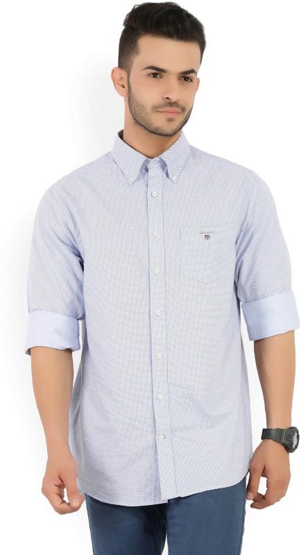 Gant Mens Printed Casual Blue Shirt