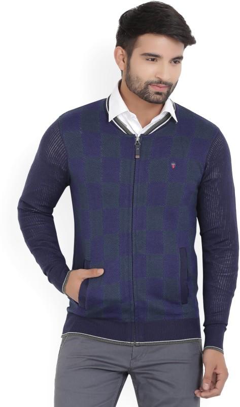 LP Louis Philippe Self Design V-neck Casual Mens Green, Dark Blue Sweater
