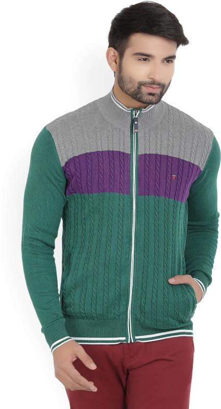 LP Louis Philippe Self Design Turtle Neck Casual Mens Grey, Green Sweater