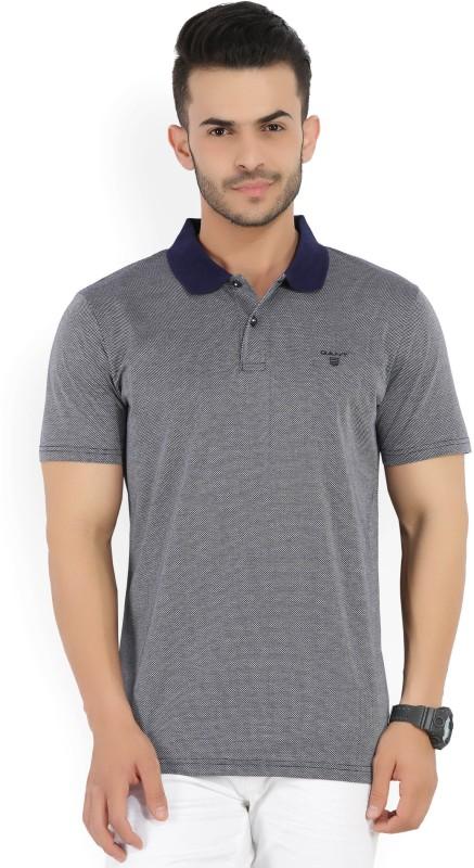 Gant Self Design Mens Polo Neck Dark Blue T-Shirt