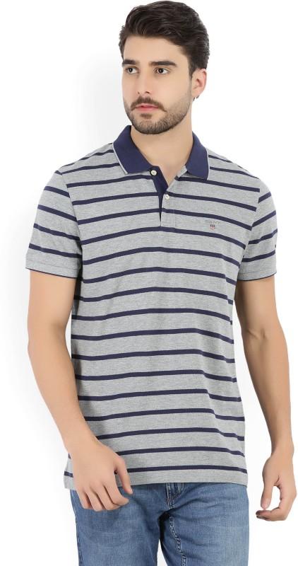 Gant Striped Mens Polo Neck Grey, Dark Blue T-Shirt