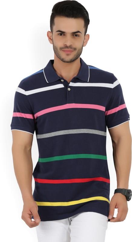 Gant Striped Mens Polo Neck Dark Blue T-Shirt
