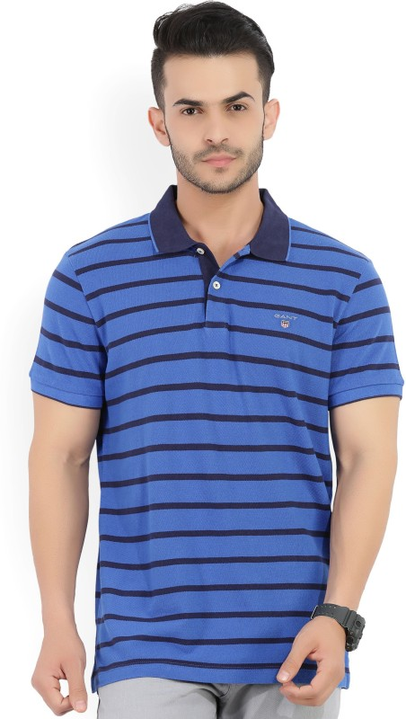 Gant Striped Mens Polo Neck Blue T-Shirt