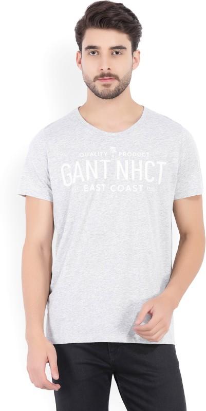 Gant Printed Men Round Neck Grey T-Shirt