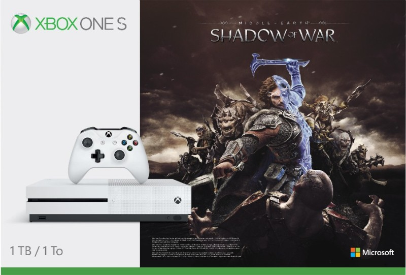 Microsoft Xbox One S 1 TB with Shadow of War(White)