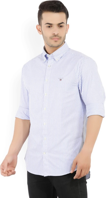 Gant Mens Striped Casual White, Blue Shirt