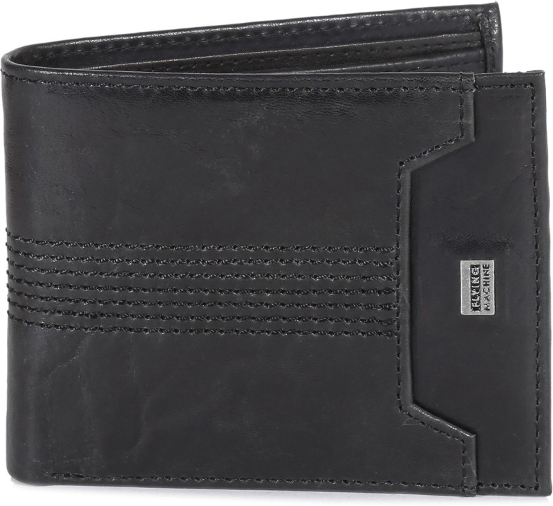 Flying Machine Men Black Genuine Leather Wallet(4 Card Slots)