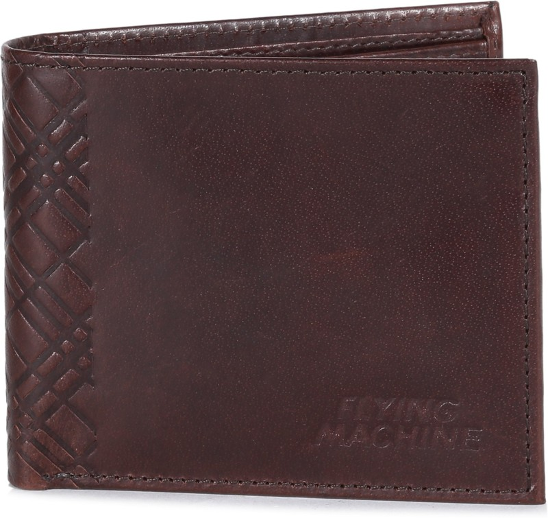 Flying Machine Men Brown Genuine Leather Wallet(8 Card Slots)