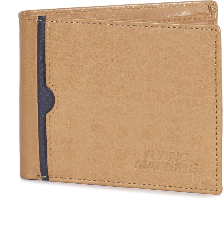 Flying Machine Men Beige Genuine Leather Wallet(8 Card Slots)