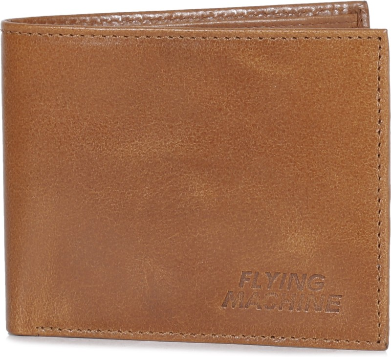 Flying Machine Men Tan Genuine Leather Wallet(4 Card Slots)