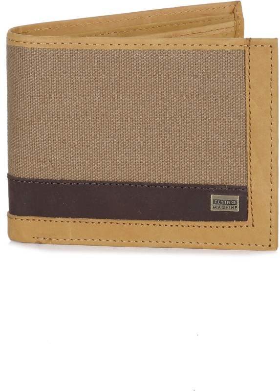 Flying Machine Men Beige, Brown Genuine Leather, Canvas Wallet(8 Card Slots)