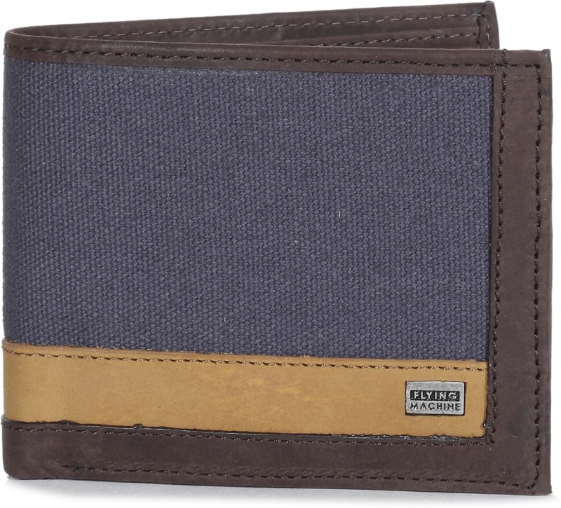 Flying Machine Men Brown, Blue Genuine Leather, Canvas Wallet(8 Card Slots)