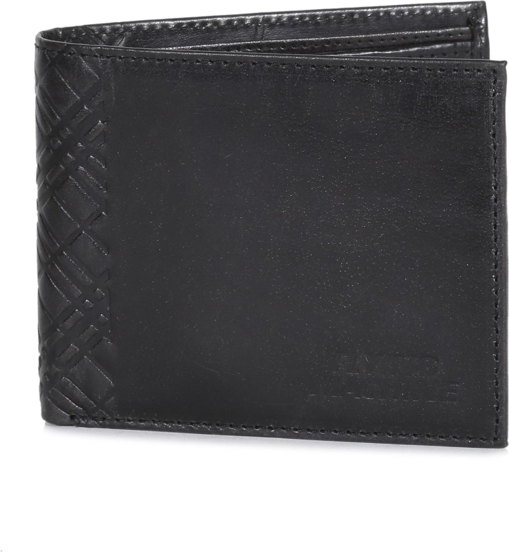 Flying Machine Men Black Genuine Leather Wallet(8 Card Slots)