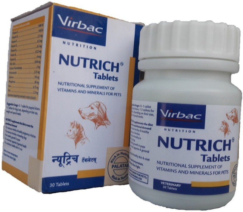 Virbac NUTRICH TABLETS (30) Pet Health Supplements(150 g)