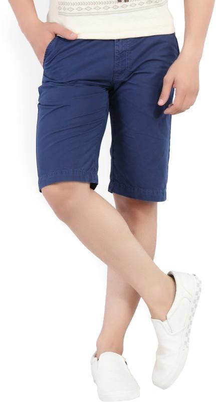 Peter England University Solid Men's Blue Chino Shorts