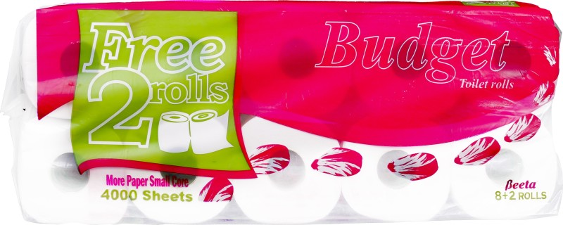 BEETA Toilet Roll 10 in 1 / 4000 sheets / flower embossing Toilet Paper Roll(2 Ply, 400 Sheets)