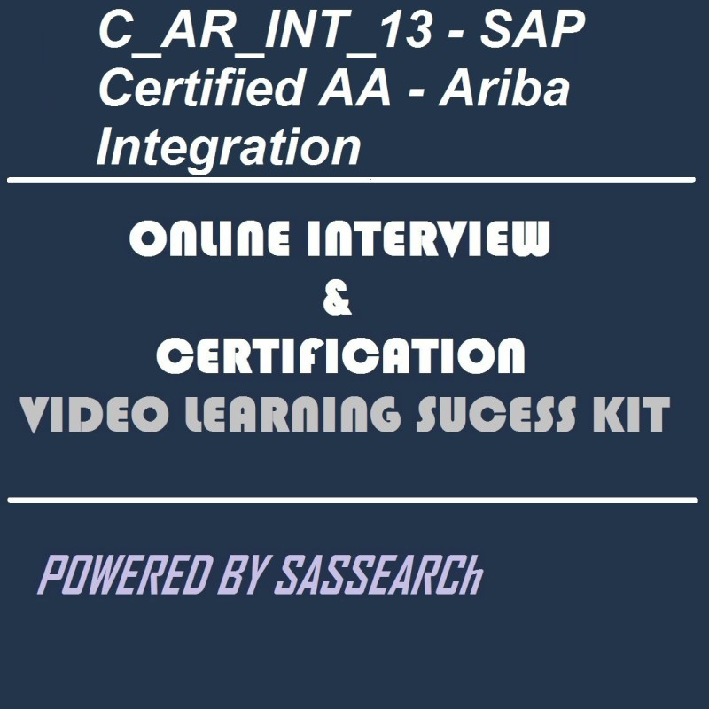 SAPSMART C_AR_INT_13 - SAP Certified AA - Ariba IntegrationOnline  Certification & Interview Video Learning ebook(DVD)
