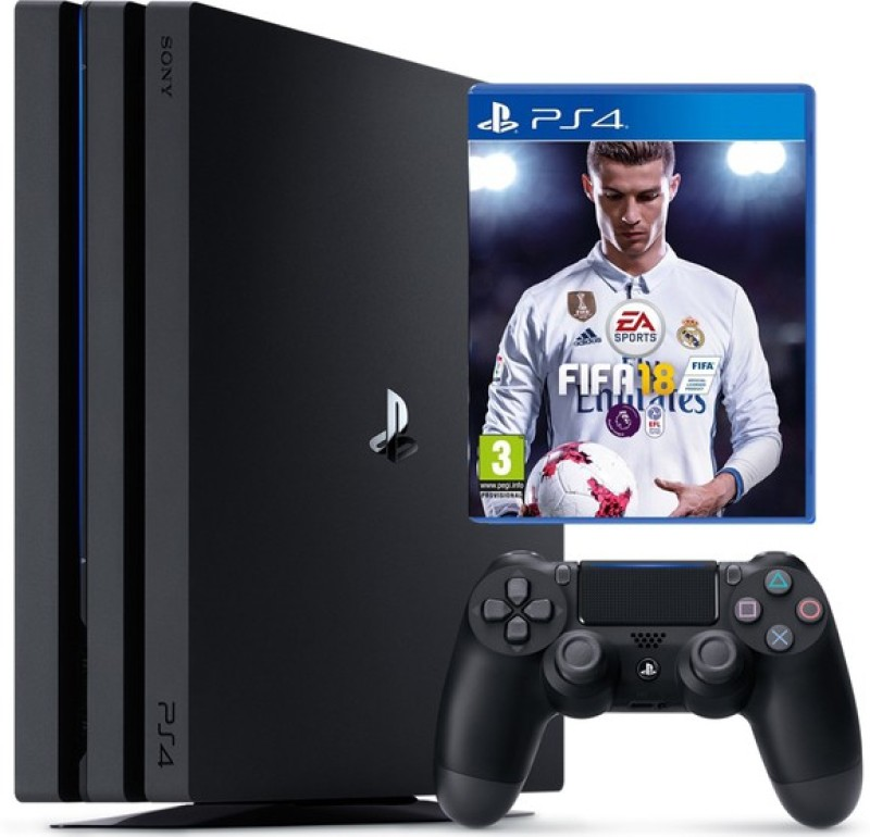 Sony Ps4 Pro Console One TB with Fifa 18(Black)