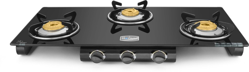 hotsun Ozone 3 Burner Glass Top Stainless Steel, Glass Manual Gas Stove(3 Burners)