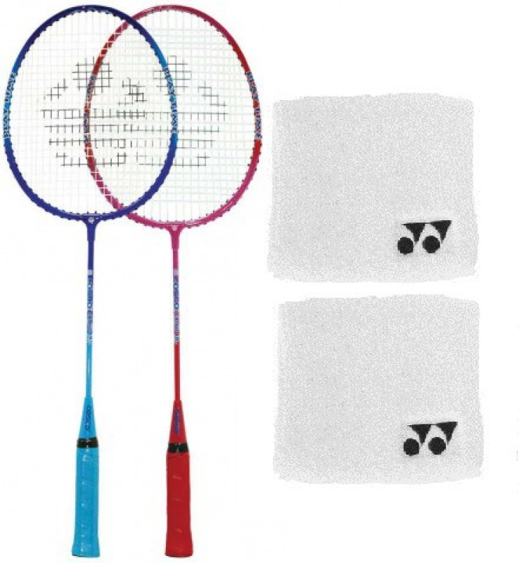 Cosco Combo of Three, Two Cb 80 jr Badminton Racquet (Cover Orange/ Blue) and One Pair of Wrist Band (Color On Availability) - Badminton Kit