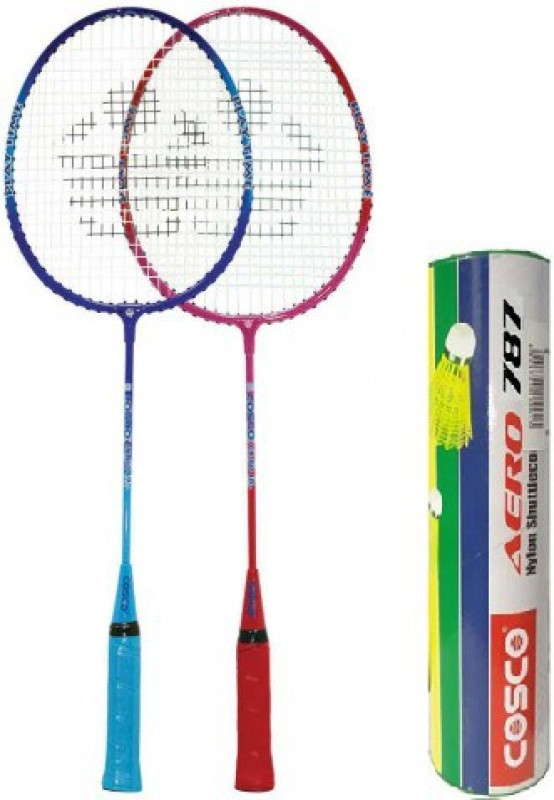 Cosco Combo of Three, Two Cb 80 Badminton Racquet (Cover Orange/ Blue) and one Box of Aero 787 Nylon Shuttlecock (Pack of 6) (Color On Availability) - Badminton Kit