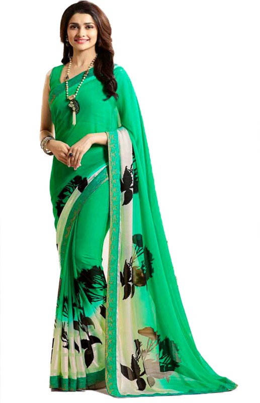Bombey Velvat Fab Floral Print Daily Wear Georgette, Chiffon Saree(Light Green)