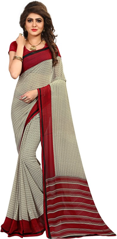 Kalaa Varsha Printed, Geometric Print Daily Wear Synthetic Georgette Saree(Red, White, Black)