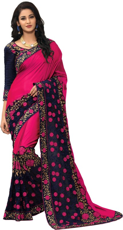 onlinefayda Embroidered Fashion Silk Saree(Pink)