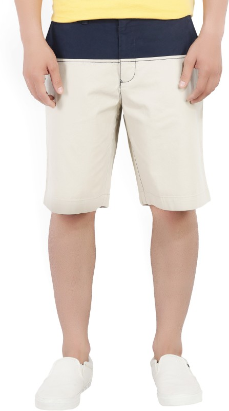 Tommy Hilfiger Solid Mens Beige, Dark Blue Basic Shorts