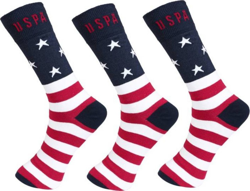 U.S. Polo Assn Mens Striped Crew Length Socks(Pack of 3)