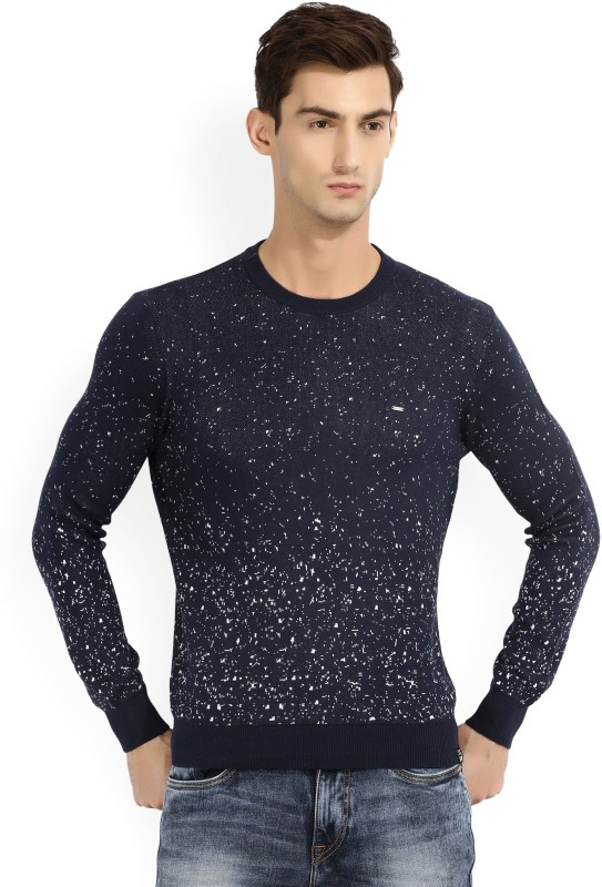 Lee Printed Round Neck Casual Mens Blue Sweater