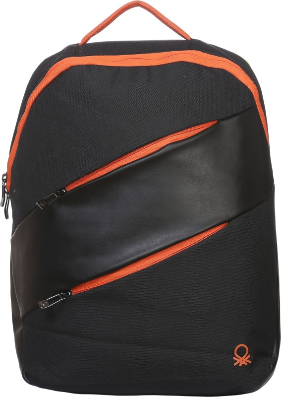 United Colors of Benetton Contrast Zipper 27 L Backpack(Black)
