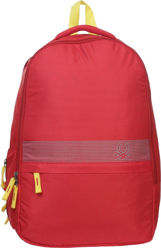 United Colors of Benetton Stripe Print 18 L Backpack(Red)