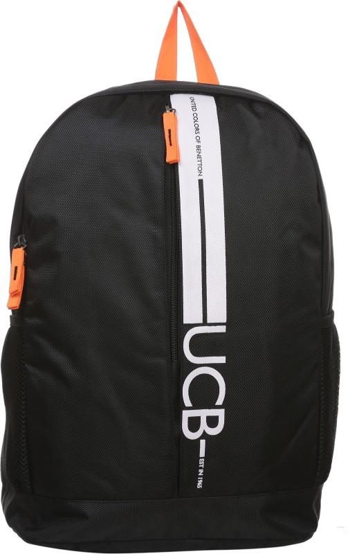 United Colors of Benetton Striper Print 17 L Backpack(Black)