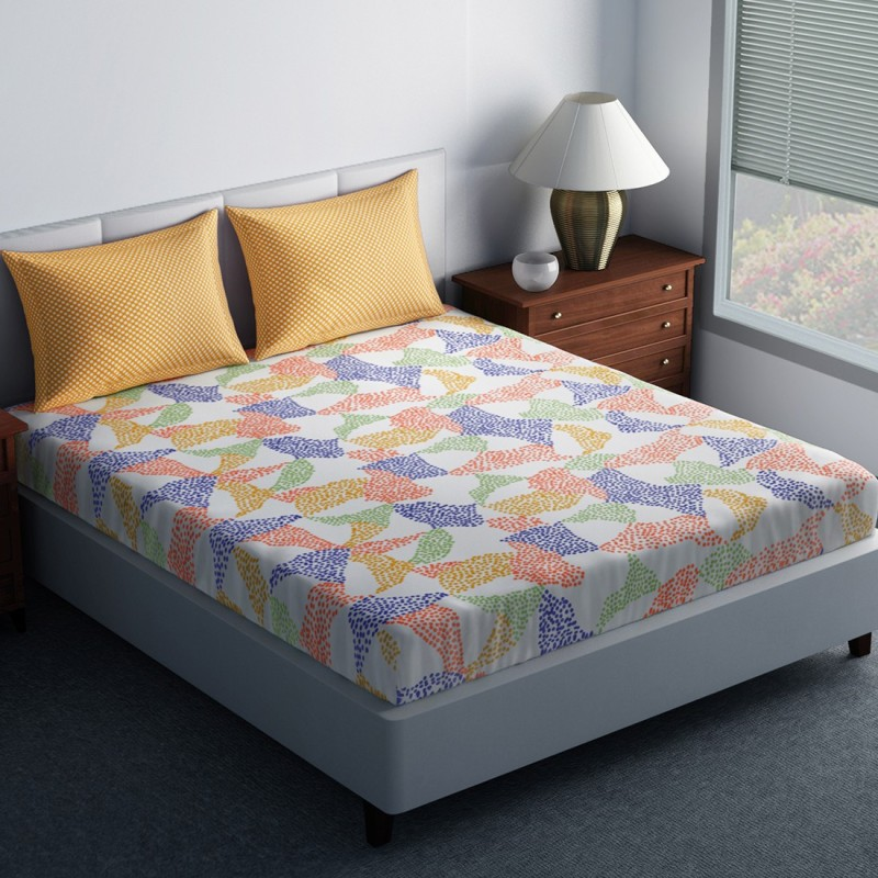 SPACES 144 TC Cotton Double King Abstract Bedsheet(1N Double Bedsheet, 2N Pillow Covers, Yellow)