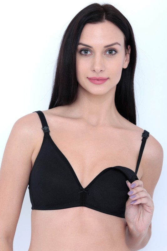 Inner Sense by Inner Sense Womens Nursing Non Padded Bra(Black)