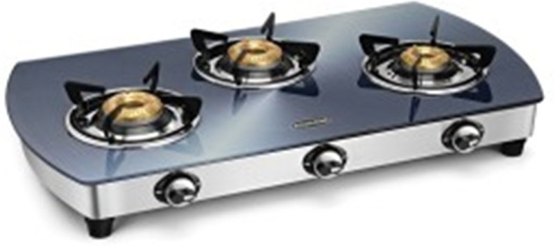 PADMINI CS 3 GT Silvo Steel, Glass Manual Gas Stove(3 Burners)