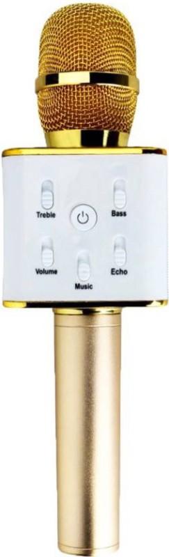 SUNLIGHT TRADERS Wireless Bluetooth Karaoke Singing Mic Speaker Q7 Car Stereo Handheld GOLD ORIGINAL portable music entertainment Microphone 054 Microphone