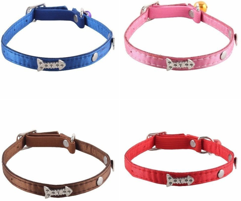 SRI High Quality Silver Fish Bone Design Collar With Bell For Puppy/Cat Cat Show Collar(Small, Multicolor)