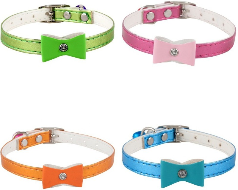 SRI High Quality Combo Of Designer Adjustable Bow Design Collar For Puppy/Cat Cat Everyday Collar(Small, Multicolor)