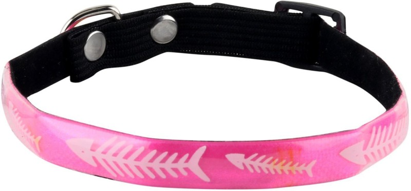 SRI High Quality Fish Bone Design Adjustable Glossy Collar For Puppy/Cat Cat Everyday Collar(Small, Pink)