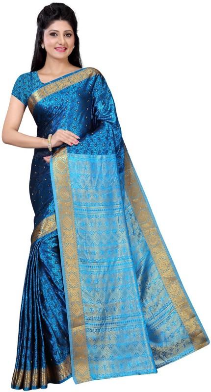 Ratnavati Floral Print Banarasi Silk Saree(Blue)
