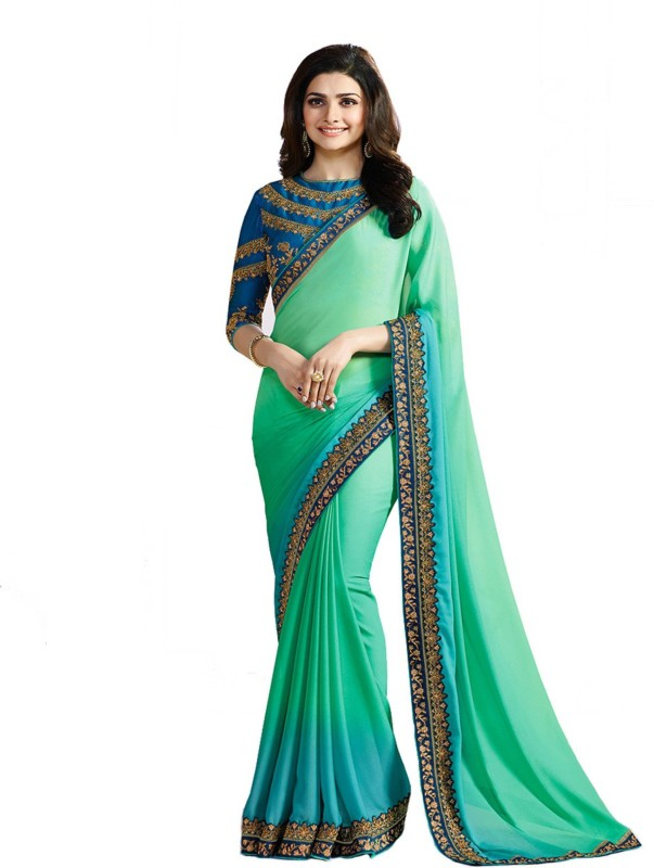 Bombey Velvat Fab Plain, Embroidered Daily Wear Georgette Saree(Light Green, Light Blue)