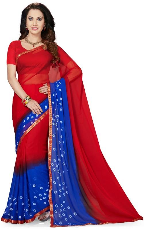 Ishin Printed Bandhani Synthetic Chiffon Saree(Red)