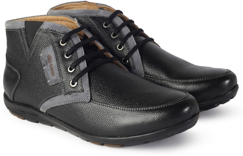 Red Chief Leather Boots For Men(Black)