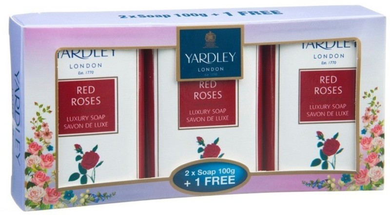 Yardley Red Roses (Pack of 3 Soaps x 100G, Imported)(300 g, Pack of 3)