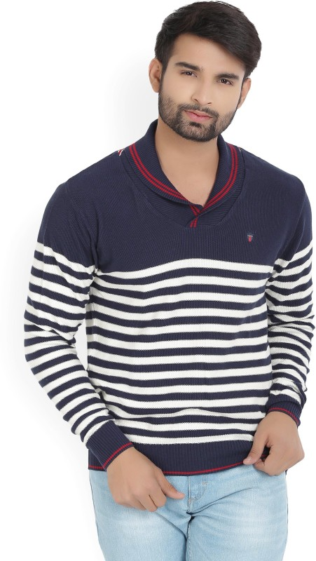 LP Louis Philippe Striped V-neck Casual Mens White, Blue Sweater