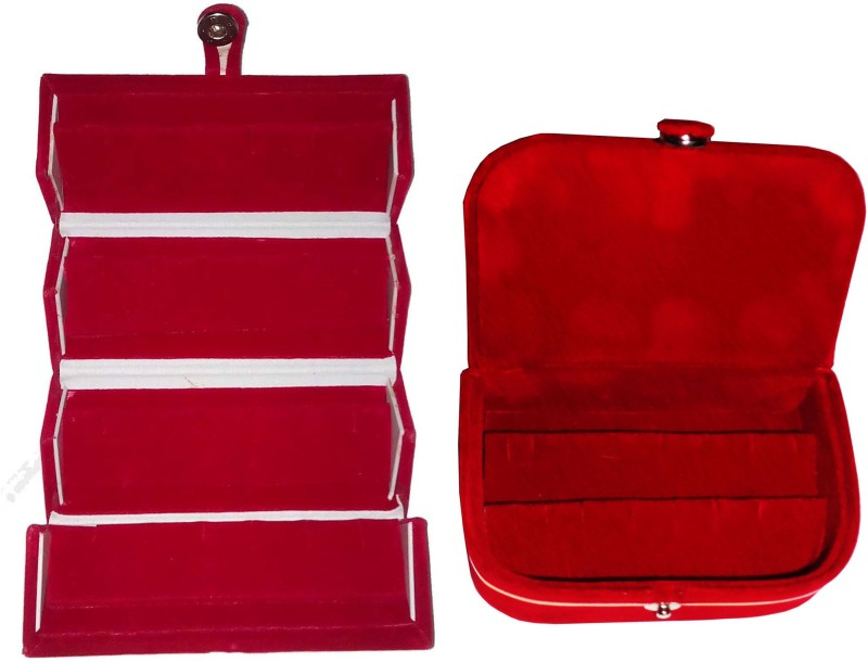 Funkroo Combo 1 pc red earring folder and 1 pc red ear ring box vanity case Makeup Vanity Box(Red)